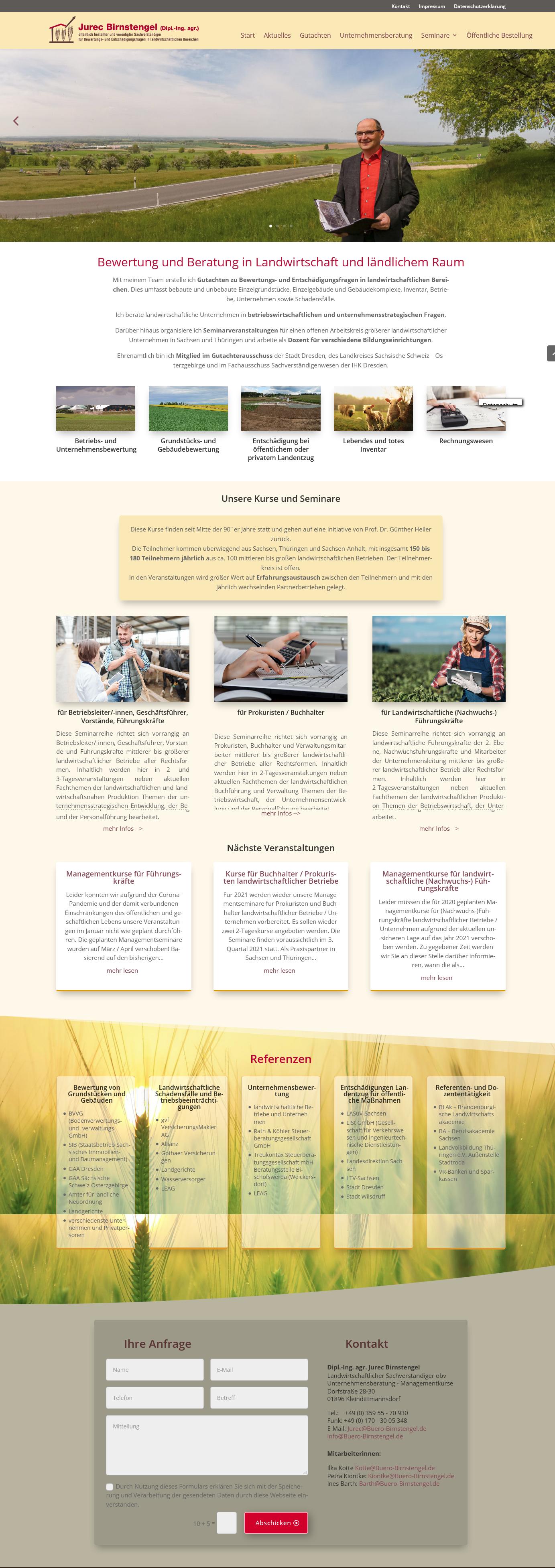Jurec Birnstengel Landwirtschaftlicher Sachverständiger öbv Unternehmensberatung – Managementkurse